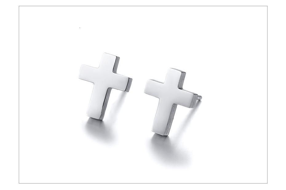 Gold Silver and Black Tone Stainless Steel Simple Cross Stud Unisex Earring - SolaceConnect.com