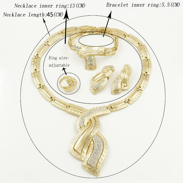 Fashion African Dubai Gold Jewelry Nigerian Crystal Necklace Hoop Earrings Women Italian Bridal - SolaceConnect.com