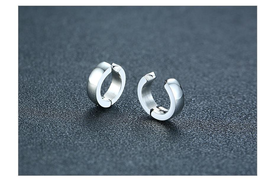 Stainless Steel Unisex Huggie Hypoallergenic Hoop Earrings Ear Clip Jewelry - SolaceConnect.com