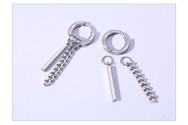 Unisex Stainless Steel Bar Punk Chain Long Piercing Earrings Jewelry - SolaceConnect.com