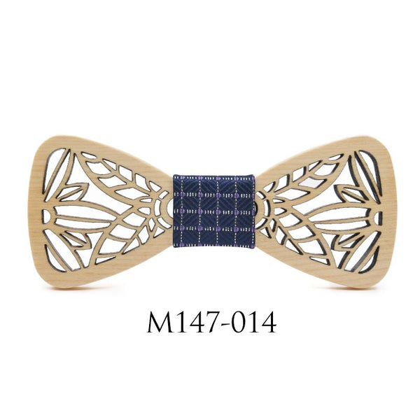 Slim Hollow Wooden Butterfly Shape Bowknot Bowties for Wedding Suits - SolaceConnect.com