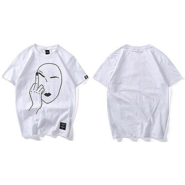 Funny Fashion Middle Finger Print Summer Men's Casual Streetwear T-Shirt - SolaceConnect.com