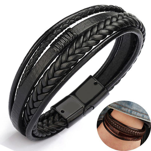 Men's Magnetic-Clasp Cowhide Multi-Layer Braided Wrap Bracelet Bangles - SolaceConnect.com