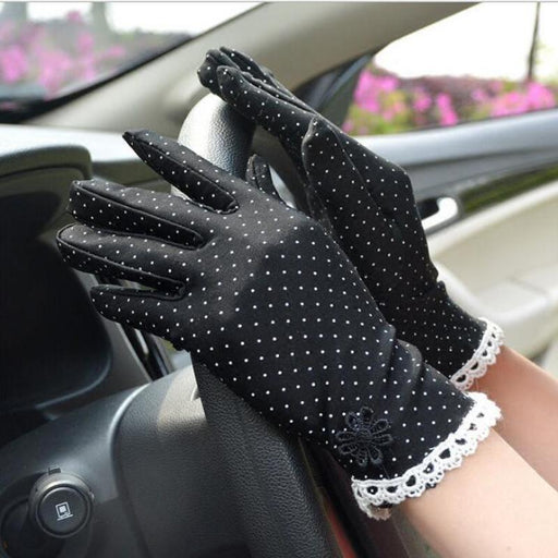 Women's Fashion Cotton Summer Gloves Lace Patchwork Gloves Anti-skid Sun Protection Driving Short - SolaceConnect.com