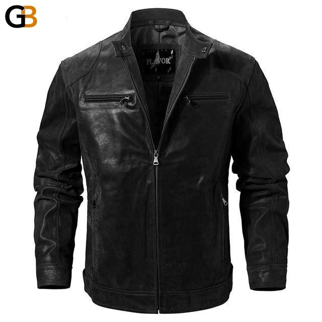 Regular Men's Real Pigskin Leather Solid Zipper Motorcycle Jacket - SolaceConnect.com