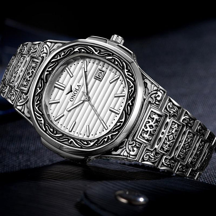 Creative Retro Men's Full Steel Calendar Waterproof Quartz Wrist Watches - SolaceConnect.com