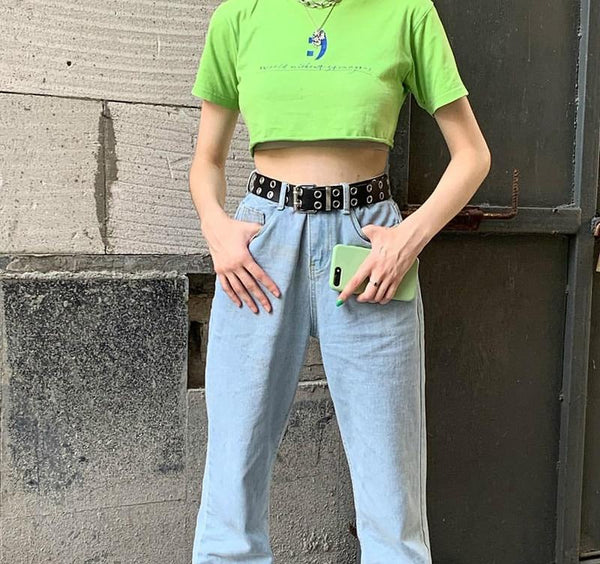 Unisex Punk Streetwear Wide Synthetic Leather Double Holes Adjustable Belts - SolaceConnect.com