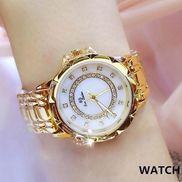 Luxury Women's Diamond Rhinestone Elegant Gold Clock Wrist Watches - SolaceConnect.com