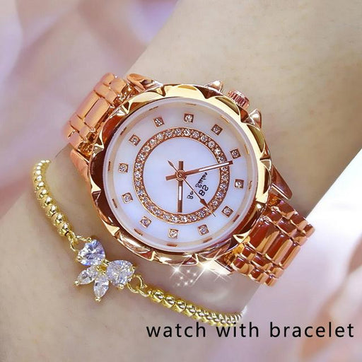 Diamond Women Luxury Brand Watch 2019 Rhinestone Elegant Ladies Watches Gold Clock Wrist Watches For - SolaceConnect.com