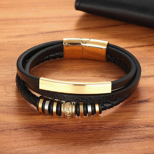 Geometrically Irregular Graphics Stainless Steel Genuine Leather Bracelet Black' and 'Brown Color - SolaceConnect.com