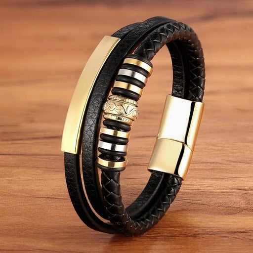 Men's Stainless Steel Leather Geometrically Irregular Graphics Bracelet - SolaceConnect.com