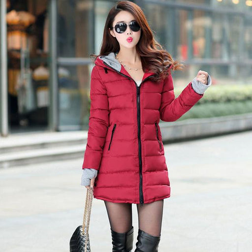 Women winter hooded warm coat slim plus size candy color cotton padded basic jacket female - SolaceConnect.com