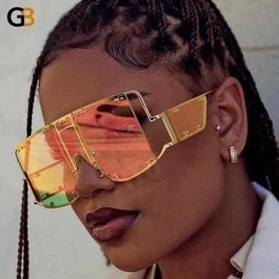 Fashion Square Sunglasses Men Women Oversized Mirror Shades Glasses Luxury Metal Rivet Trend - SolaceConnect.com