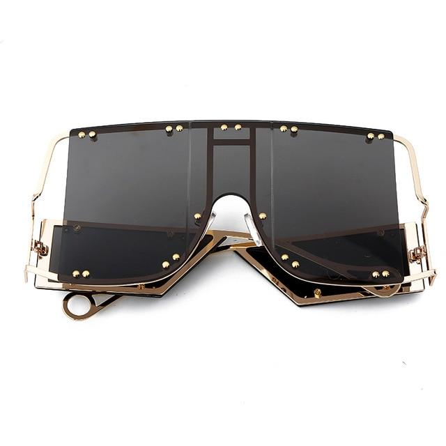 Unisex Luxury Fashion Metal Rivet Oversized Mirror Shades Square Sunglasses - SolaceConnect.com