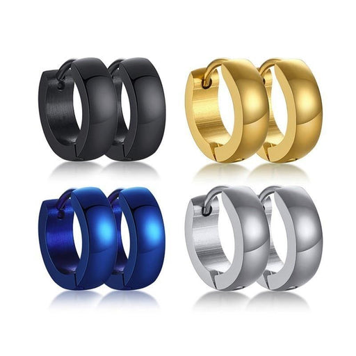 Assorted Colors Simple Small Hoop Earrings for Women Men Plain Stainless Steel Casual Brincos - SolaceConnect.com