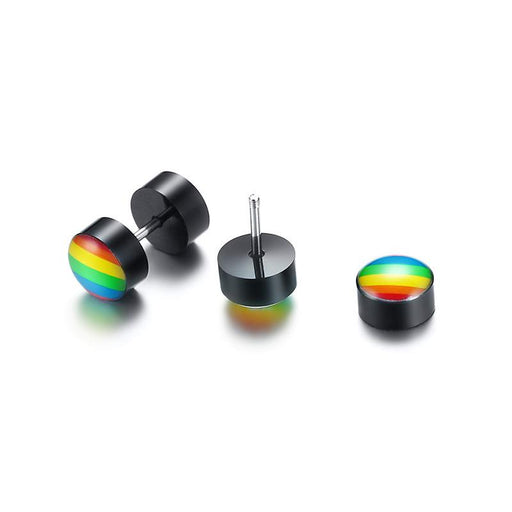 Pride Rainbow Stud Earrings For Men Stainless Steel Screw Earings Punk Jewelry - SolaceConnect.com