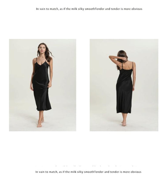 Sexy Women's Silk Satin Sleeveless V-Neck Long Nightgown Sleepshirt - SolaceConnect.com