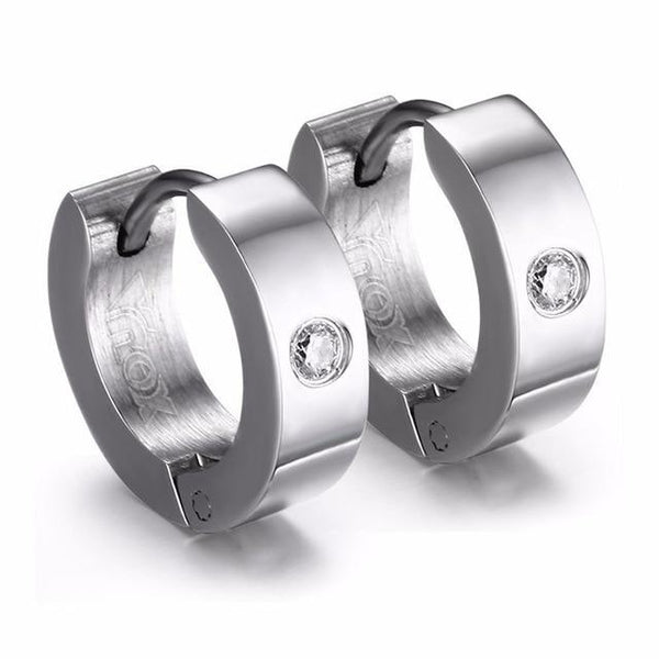 Punk Unisex Small Stainless Steel Circle with AAA CZ Stone Hoop Earrings - SolaceConnect.com