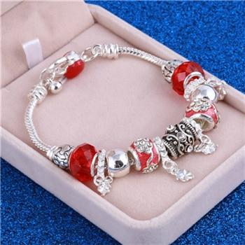 Pink Crystal Charm Silver Bracelets & Bangles for Women With Murano Beads Silver Bracelet Femme - SolaceConnect.com
