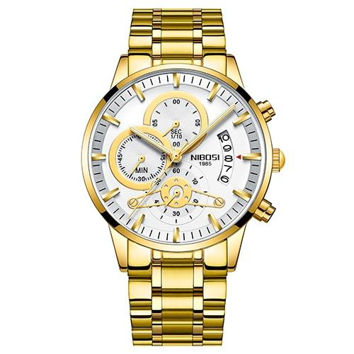 Luxury Men's Automatic Date Relogio Masculino Quartz Gold Watches - SolaceConnect.com
