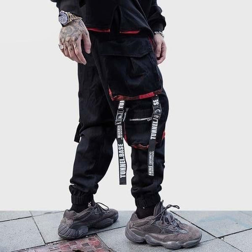 Hip Hip Men's Ribbon Zipper Pockets Cargo Jogger Tactical Pants Streetwear - SolaceConnect.com