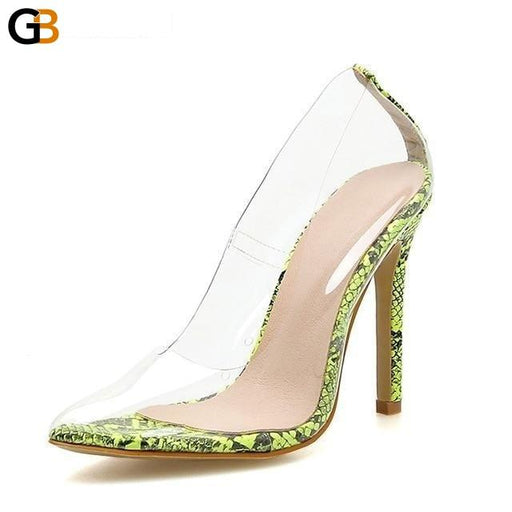 Concise Fashion PVC Woman Transparent Sandals Thin High Heels Shoes Pointed Toe Pumps Slip On - SolaceConnect.com