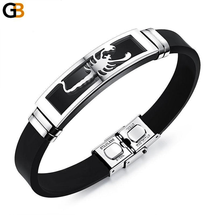 Men's Stainless Steel Leather Rope Chain Individuality Scorpion Bracelets - SolaceConnect.com