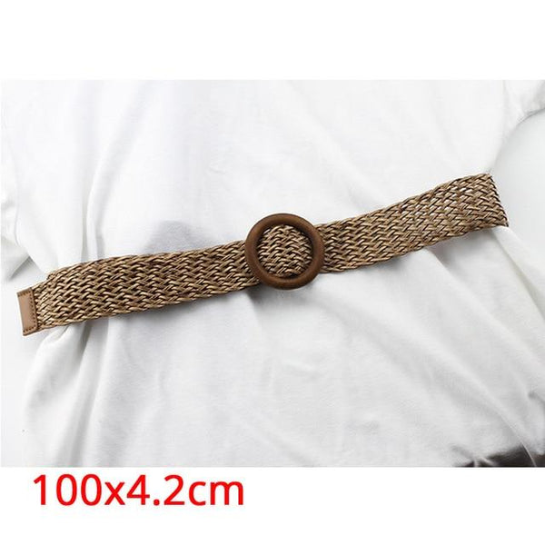Female Braided Hollow Breathable Black Square Buckle Woven Waist Belts - SolaceConnect.com