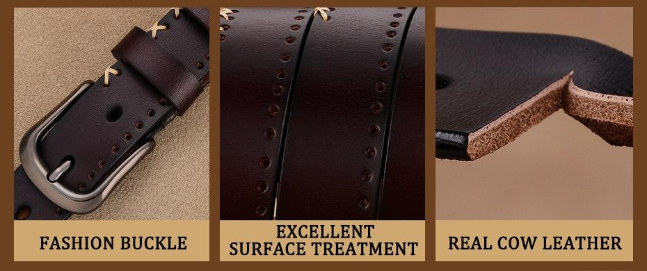 Fashion Women's Stitching Up Pin Buckle Genuine Cow Skin Leather Strap Belt - SolaceConnect.com