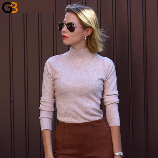 Autumn Winter Cashmere Knitted Women's Turtleneck Pullover Sweaters - SolaceConnect.com