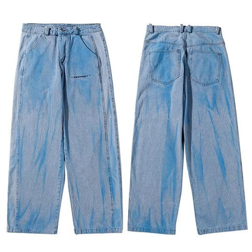 Hip Hop Harajuku Men's Autumn Illusion Tie Dye Streetwear Baggy Denim Pant - SolaceConnect.com
