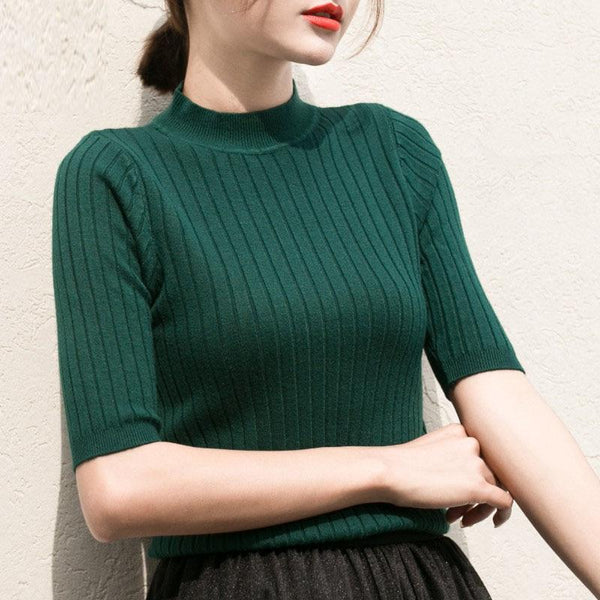 Women's Knitted Turtleneck Half Sleeve Pullover Sweater Shirt Basic Tops - SolaceConnect.com