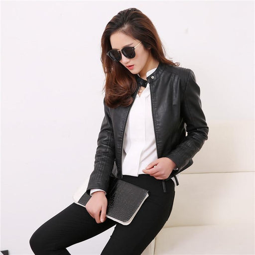 European Style O Neck Collar Pu Leather Jacket Fashion Motorcycle Leather Clothing Women Slim PU - SolaceConnect.com