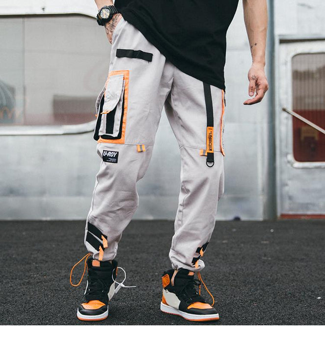 Hip Hip Cargo Pants Streetwear Men Harajuku Harem Pants Joggers Casual Tatical Pants Ribbon Multi - SolaceConnect.com