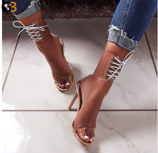Eilyken 2020 PVC Jelly Lace-Up Sandals Open Toed High Heels Sexy Women Transparent Heel Sandals - SolaceConnect.com