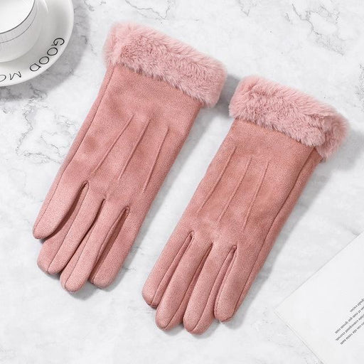 Female Suede Furry Warm Full Finger Winter Outdoor Touch Screen Gloves - SolaceConnect.com