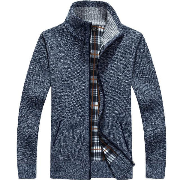Winter Thick Men's Knitted Long Sleeve Full-Zip Fleece Cardigan Sweater - SolaceConnect.com