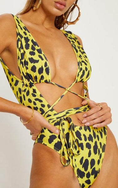 Summer Sexy Women's Serpentine Leopard Printed One Piece Monokini - SolaceConnect.com
