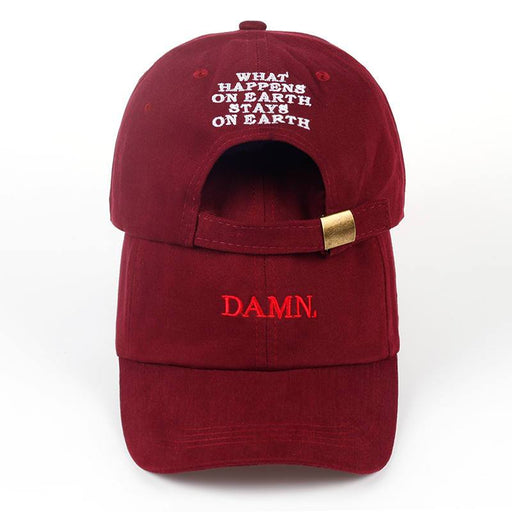 Wine red kendrick lamar damn cap embroidery DAMN unstructured dad hat bone women men the rapper - SolaceConnect.com