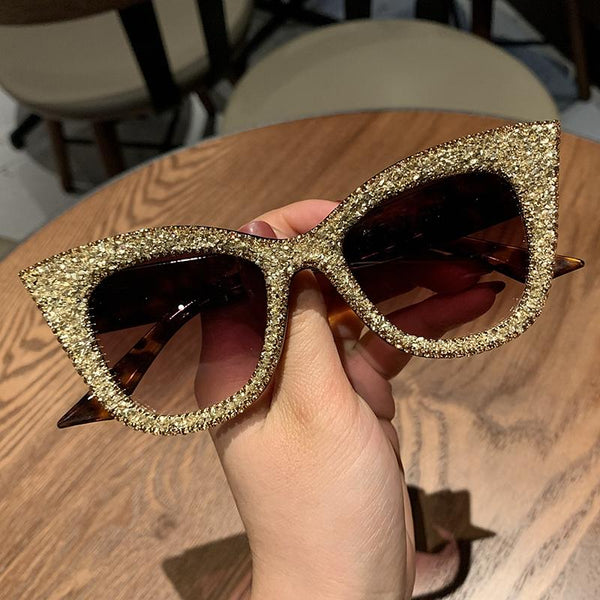 Retro Vintage Designer Female Silver Gold Cat-eye Frame Plain Eye Glasses - SolaceConnect.com