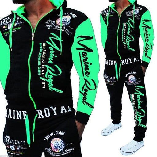 Men Tracksuit 2 Piece Tops and Pants Mens Sweat Suits Set Letter Print Plus Size Jogger Sets for Men - SolaceConnect.com