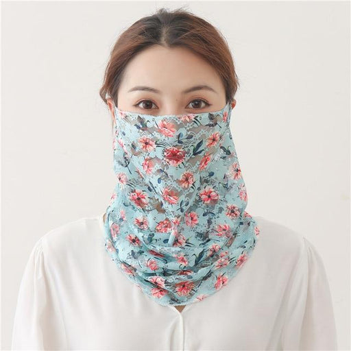 Women Silk Face Scarves Neck Wraps Ring Snood Hair Band Head Kerchief Sunscreen Face Scarves Print - SolaceConnect.com
