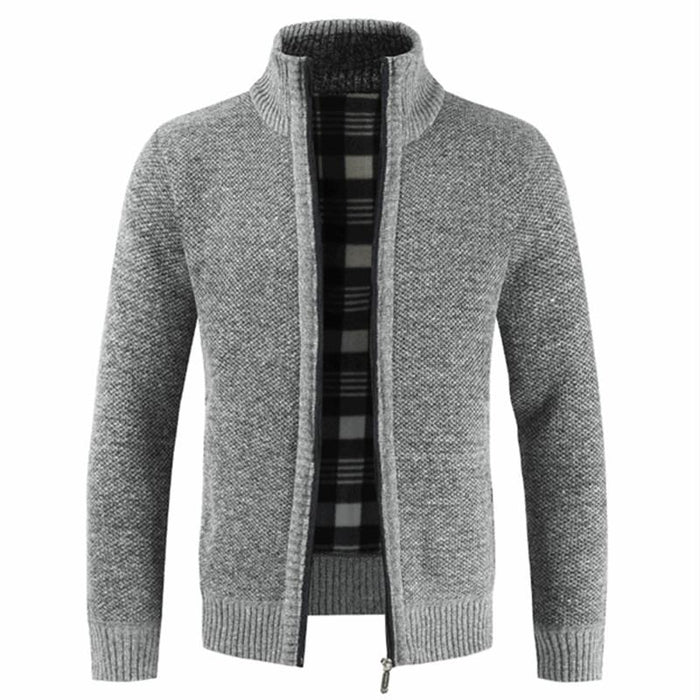 Autumn Winter Warm Men's Solid Cotton Slim Fit Stand Collar Zipper Jacket - SolaceConnect.com