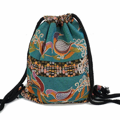 Women's Gypsy Bohemian Boho ChicAztec Ibiza Tribal Ethnic Fabric Backpack - SolaceConnect.com