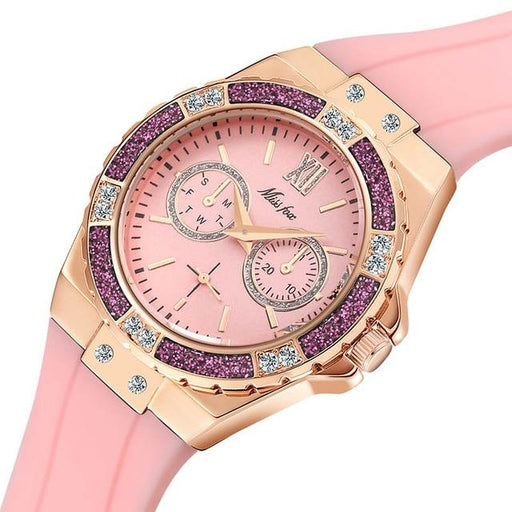 Ladies Diamond Rose Gold Blue Rubber Band Analog Chronograph Sport Watches - SolaceConnect.com
