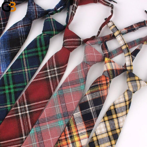 Adjustable Plaid Skinny Cotton Neck Tie For Men Suits Mens Slim Necktie For Business Cravats 7cm - SolaceConnect.com