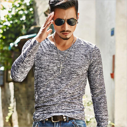Men T Shirt Casual Long Sleeve Slim Men's Basic Tops Tees Summer Stretch T-shirt Mens Clothing - SolaceConnect.com