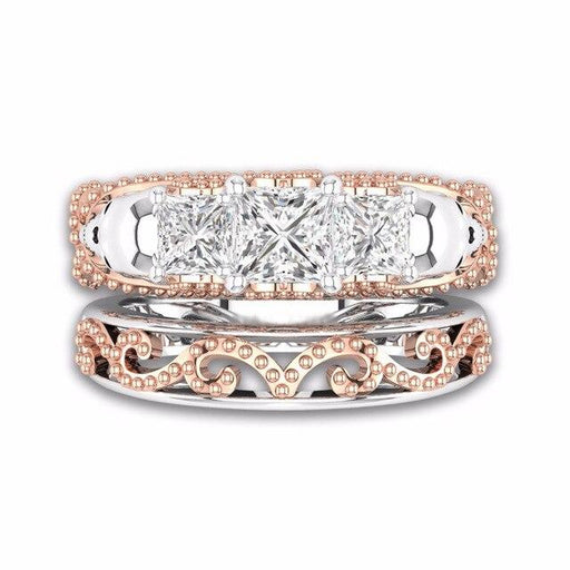 Gothic Skull Hollow Style Round Finger Rose Gold Color Crystal CZ Double rings For Women Men Fashion - SolaceConnect.com