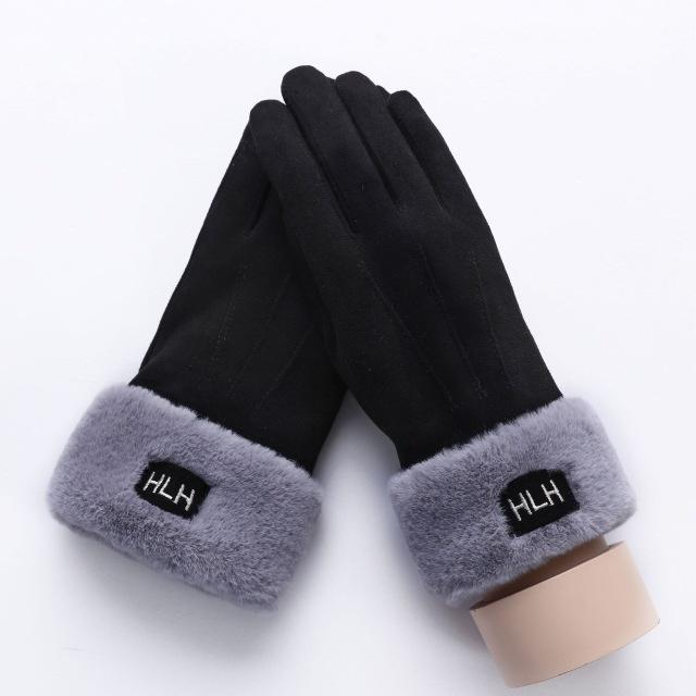 Women's Suede Double Layer Furry Winter Snowflake Touch Screen Gloves - SolaceConnect.com