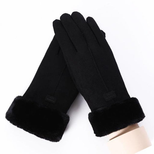 Women Touch Screen Suede Glove Winter Double Layer Furry Mittens Warm Snowflake Embroidery Outdoor - SolaceConnect.com